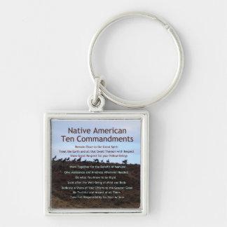Native American Ten Commandments Silver-Colored Square Keychain