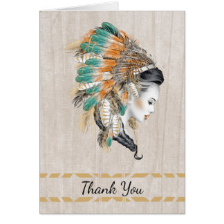 Native American Thank You with Indian Princess Card