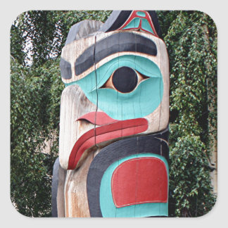 Native American Totem Pole,  Anchorage, Alaska Square Sticker