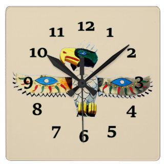 Native American Totem Square Wall Clock