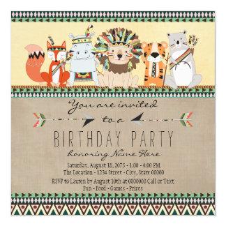 "Native American Tribal Animal Kids Birthday Party 5.25"" Square Invitation Card"