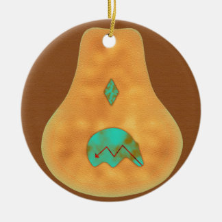 Native American Turquoise Zuni Bear Ceramic Ornament