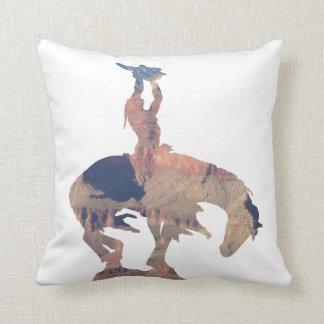 Native American with Buffalo Skull Throw Pillow