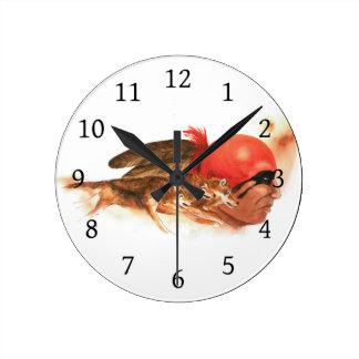 Native American Wolf Clan Round Clock