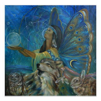 Native american wolf owl rabbit painting poster