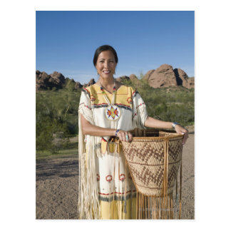 Native American woman in traditional clothing Postcard