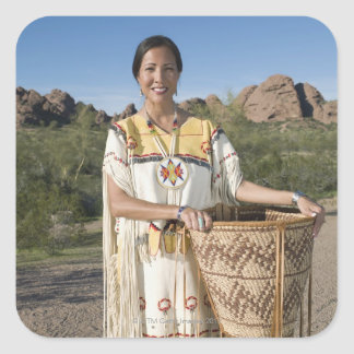 Native American woman in traditional clothing Square Sticker