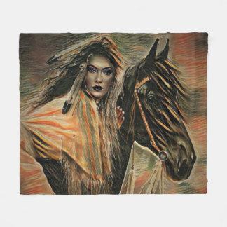 Native American Woman on Horseback Fleece Blanket