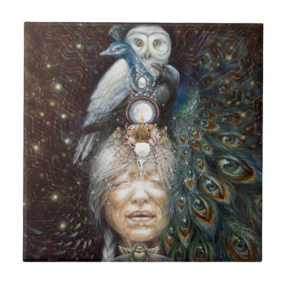 native american woman with owl and peacock tile