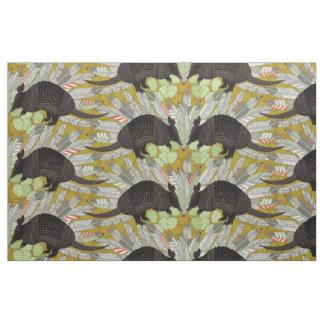 native armadillos gold fabric