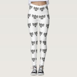 Native Aztec Bird ~ Black and White pattern. Leggings