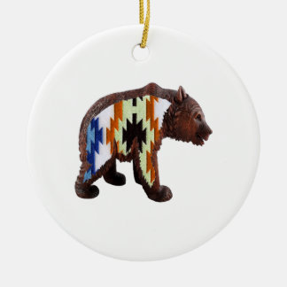 Native Bear Round Ceramic Ornament