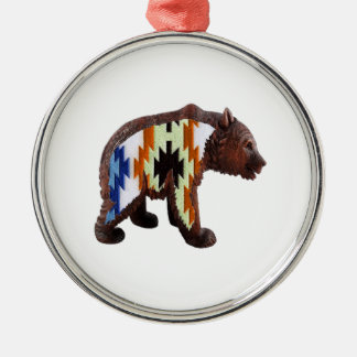Native Bear Silver-Colored Round Ornament