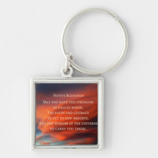Native Blessings Silver-Colored Square Keychain