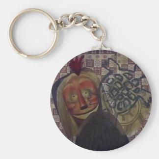 Native Crazy Quilt Basic Round Button Keychain