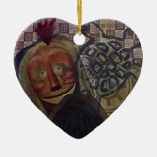 Native Crazy Quilt Ceramic Heart Ornament