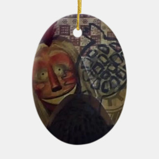 Native Crazy Quilt Ceramic Oval Ornament