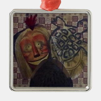 Native Crazy Quilt Silver-Colored Square Ornament