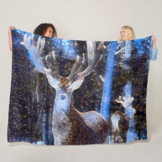Native Deer Spirit Animal Shaman Fleece Blanket