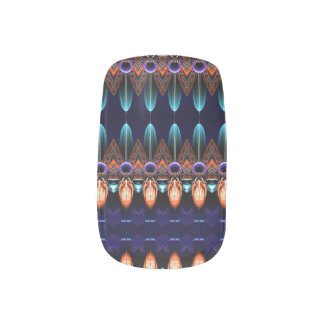 Native Drum Purple Indigo and Blue Feathers Nail Art