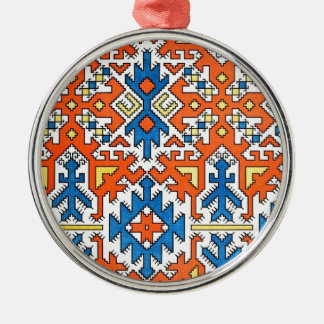 Native Geometric Pattern 1 Silver-Colored Round Ornament