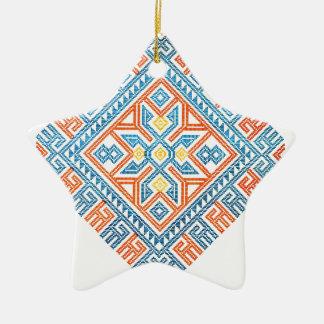 Native Geometric Pattern 2 Ceramic Star Ornament