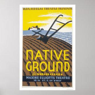 Native Ground Farmhouse 1936 WPA Poster