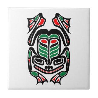Native Haida Art Frog - black on white Ceramic Tile