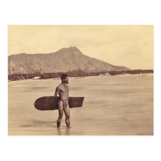 Native Hawaiian Surfer, c. 1890 Postcard