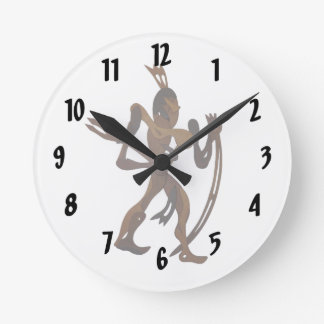 native holding bow wood cutout clock