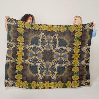 Native Hunter Horn Shaman Shield Mandala Quilt Fleece Blanket