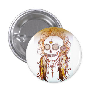 Native indian skull & flower head dress pin badge