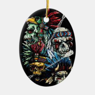 Native Indian Skull Skeleton Ceramic Ornament
