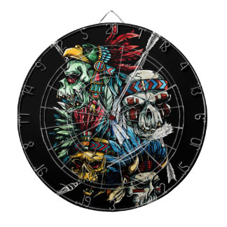 Native Indian Skull Skeleton Dart Board