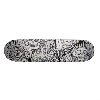 native indian skull skeleton feathers skate board