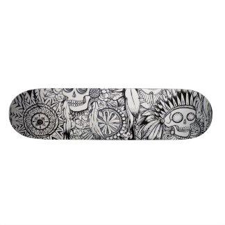 native indian skull skeleton feathers skate board