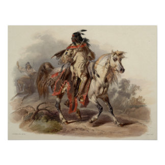 Native Man on Horse  Painting 60.96cm x 60.96cm, Poster