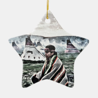Native meditating under the snow ceramic star ornament