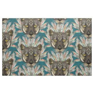 native mountain lion blue fabric