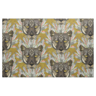native mountain lion gold fabric
