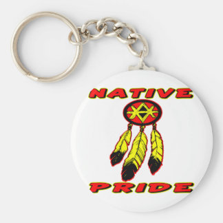 Native Pride 3 Feathers Basic Round Button Keychain