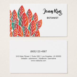 Native Red Flora Leaves Business Card