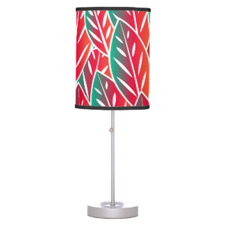 Native Red Flora Leaves Table Lamp