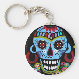 NATIVE SKULL BASIC ROUND BUTTON KEYCHAIN