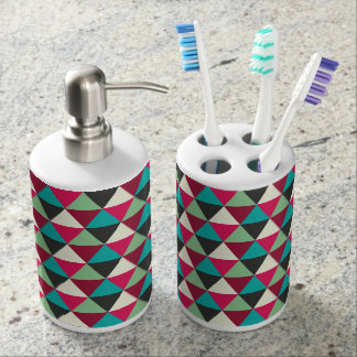 Native Southwestern Tribal Triangles Pattern Soap Dispenser And Toothbrush Holder