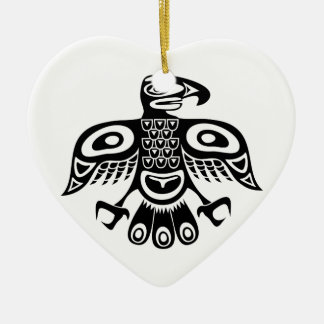 Native totem bird ceramic ornament