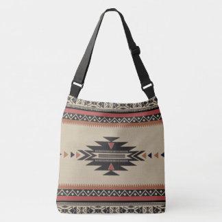 Native Tribal Woven Pattern in Browns, Black, Rust Crossbody Bag