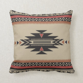 Native Tribal Woven Pattern in Browns, Black, Rust Throw Pillow