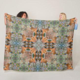 Native Whitetail Deer Tribal Mandala Quilt Fleece Blanket