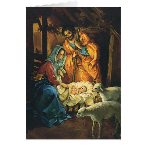 Nativité vintage de Noël, bébé Jésus dans Manger Cartes De Vœux